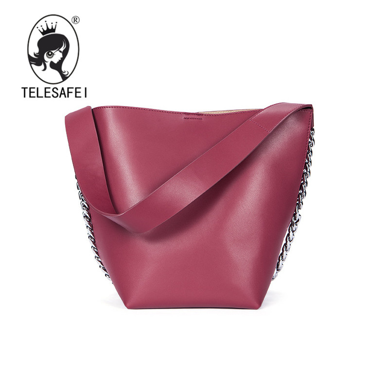 Telesafei bags for women 2017 new street shooting star wide shoulder strap leather handbag shoulder bag chain guesse bucket 9802(China)