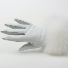 Genuine sheep Leather Gloves real fox fur lady Winter Fashion women warm real lamb skin high quality Velvet Windproof(China)