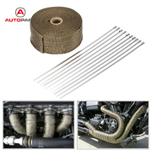 15m Heat Wrap Exhaust Manifold Downpipe 10 30cm Cable Ties for Car Motorcycle(China)