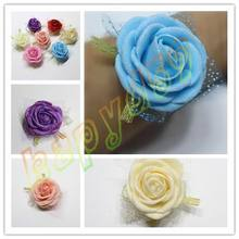 Bridesmaid Bride Wedding Supplies Hand Flower Bridesmaid Silk Rose Bride Wrist corsage Flowers Wedding Decoration party Props(China)