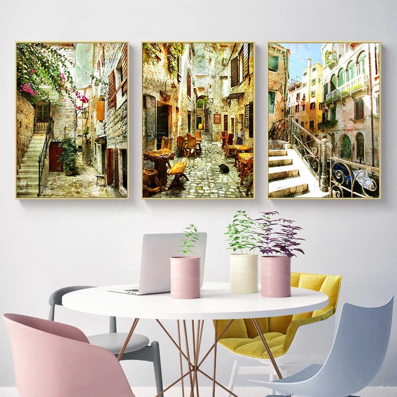 NEWBILITY European Retro Street Paintings Reataurant ...