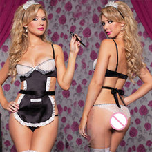 Cosplay Maid Fancy Dress Uniform Underwear Women Sexy Lingerie Halloween Costume French Apron Maid Servant Lolita Costume Dress
