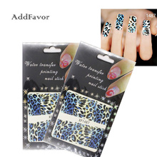 AddFavor 3PCS Blue Black Leopard Grain Nail Art Sticker Water Transfer Tips Decoration Fingernail Art Stickers Beauty Nail Tools