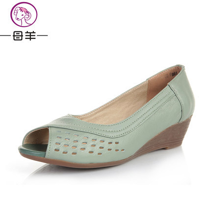 MUYANG Chinese Brand size (35-43) Women Genuine Leather Wedge Sandals 2017 Summer Shoes Woman Casual Wedges Women Sandals <br><br>Aliexpress