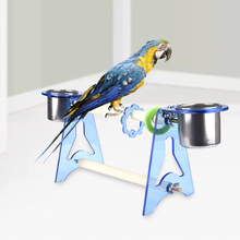 New Arrival Acrylic Wood Parrots Food Tray Climb Stand Bird Toys Training Bird Toys  Stainless Steel Food tray