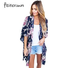 Feiterawn New 2017 Fashion Summer Beachwear Bohemian Night Club Dress Flower Print Open Front Kimono vestido de festa DL42209