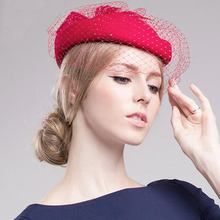 100% Australia Merino Wool Red Veil Wedding Hat For Women Elegant Bowknot Decoration Fedora Fascinator Base Trilby Hats