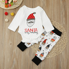 2017 Baby Boy Clothes Sets For Boys Santa Claus Pattern Romper + Santa Claus Pants Newborn Infant Girls Clothing Sets(China)