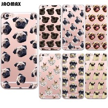 Jaomax Cute Cartoon Dog Animal Pug Puppy Case For iPhone X 6 6S 6 Plus 5 5S SE 7 8 Plus Transparent Silicone Phone Back Cover(China)