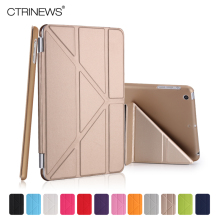 CTRINEWS Fashion Slim PU Leather Smart Case for iPad mini 1 2 3 reitna Hard PC Back Cover for Apple iPad mini 2 Stand Cover Case