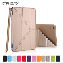 CTRINEWS Fashion Slim PU Leather Smart Case for iPad mini 1 2 3 reitna Hard PC Back Cover for Apple iPad mini 2 Stand Cover Case(China)