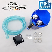 Free Shipping Universal Aluminum Turbo Engine Round Oil Catch Tank Can Reservoir Performance Silver,Black,Red,Blue With Logo