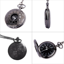 Vintage Roman Numerals Quartz Fob Pocket Watch With Chain Antique Jewelry Pendant Necklace Gifts LXH(China)
