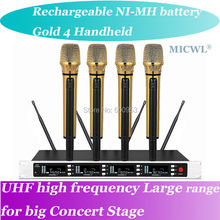 MICWL SP4 Charge NI-MH battery Radio Wireless DJ & Karaoke Microphone System High-End Gold 4 Handheld UHF LED digital