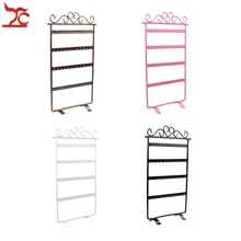 Fashion Metal 48 Holes 24Pair Earrings Display Wall Frame Rack Holder Iron Painted 4 Layer Jewelry Showcase 4 Colour Available(China)