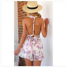 Elegant Jumpsuit Bodycon Jumpsuit Playsuit New European Aliexpress Amazon Ebay Latest Small Broken Flower Back Siamese Pants