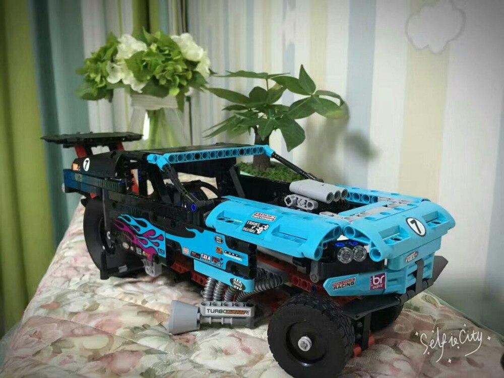AIBOULLY 647pcs 38000 Technic Series Drag Racer Building blocks Toys Model Assembling Building block Bricks compatible 42050<br>