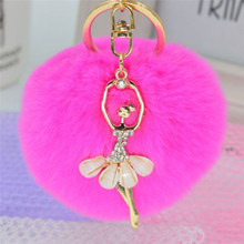 8cm Women PomPom Plush Key Ring Fur Pom Pom Bow Keychain Keyring Fluffy Rex Rabbit Fur Ball Key Chain Handbag Pendant Charm