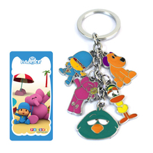 Anime Cartoon Pocoyo Action Figure Toys POCOYO Elly LOULA SLEEPY BIRD Model Keychain Pendant keyring for kids gift