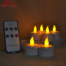Frosted Holder Included Rechargeable LED Tealight Candle for Votive Church Window Decor 6pcs/set with Remote By Free Shipping(China)