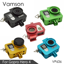 Vamson for Gopro Hero 4 Accessories CNC Aluminum Case Metal Protective Housing case Frame + Lens Cap Cover Filter VP636