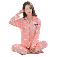 Fashion Ladies Sleepwear Long-sleeved Cartoon Pajamas Set Cotton Pyjamas for Women V-neck Winter Warm Homewear Size L/XL(China)