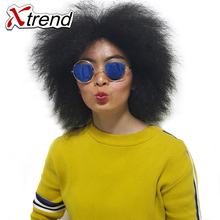 Xtrend 6inch Short Synthetic Kinky Curly Wig None Lace Front Wigs Adjustable Black High Temperature Fiber Hair For African Women