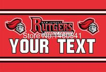 Rutgers Scarlet Knights YOUR TEXT Flag 3ft x 5ft Polyester NCAA Banner Flying Size No.4 144* 96cm QingQing Flag(China)