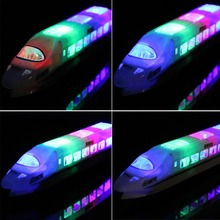Baby Kids Toy Electric Bullet Train Toy LED Flashing Lights Sounds with LED Lights Railcar Toys Children Kid Boys Girls Gifts(China)