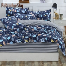 4pcs Polyester+Cotton Bedding Set Duvet Cover Set Bed Cover Fitted Sheet Set Leaf Printing Blue Queen King 1.2 1.35 1.5 1.8m