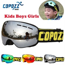COPOZZ Boys Girls Snowboard goggles Kids Ski Goggles Double UV400 anti-fog mask glasses skiing 4-15 Years Old