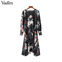 Vadim vintage floral birds pattern dress bow tie sashes side split long sleeve mid calf casual dresses vestidos mujer QZ3226