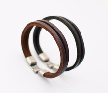 the Rock style black and coffee leather bracelet unisex retro cool bracelets bangles men women Jewelry clasps gifts jewelry