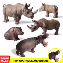 Buy Action&Toy Figure Wildlife Animal Hippopotamus Rhinos PVC Model Collectible Doll Figure Collection Kid Children Gift for $6.90 in AliExpress store