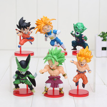 6pcs/set 8-10cm Anime Dragon Ball Z Goku Solid Set the 38th PVC Action Figure Collection Model Toy Gift(China)