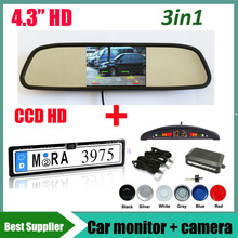 car monitor rearview mirrror + Parking sensor system radar+ car backup rearview reverse camera EU Car License Plate Frame CCD HD(China)