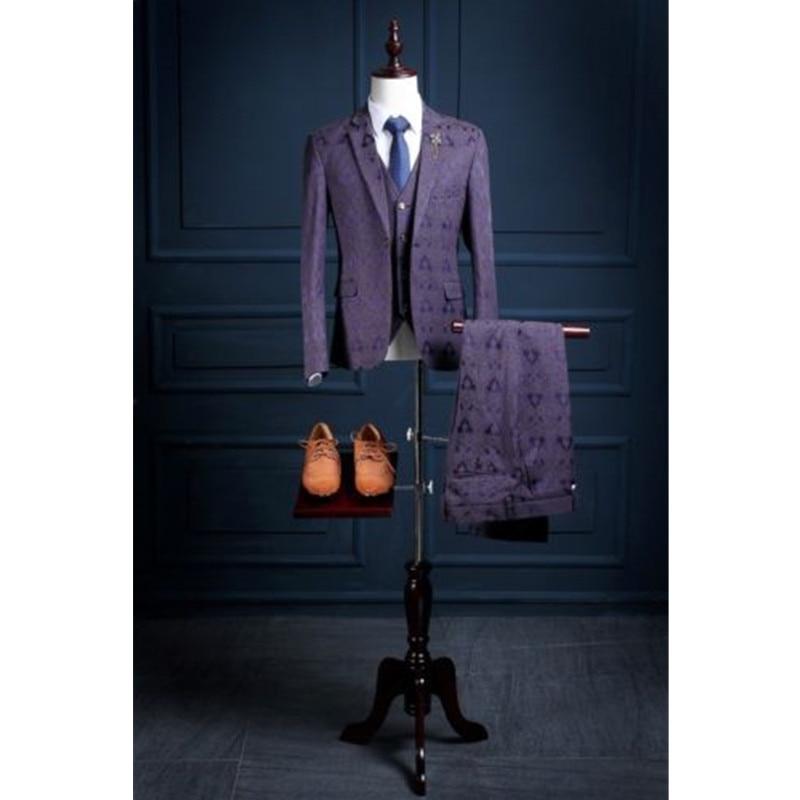 38.1 Fashion classic purple pattern Slim lapel best men\'s suit men\'s best man wedding dress and men prom dress 3 sets custom made