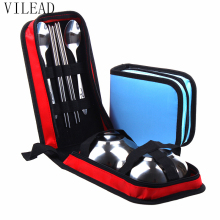 VILEAD Stainless Steel Outdoor Tableware Set Portable Travel Kit Picnic Set for 1-2 Person Storage Bag Bowl Chopsticks Spoon