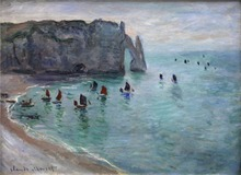 Etretat the Aval Door Fishing Boats Leaving the Harbour High quality Claude Monet Canvas Impressionist Painting Hand painted