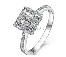 S925 Silver Princess cut Zircon CZ Lady Wedding Band Engagement Women's Ring Gift