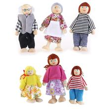 6pcs Wooden Puppet Toys Cartoon Family Dolls For Children Play House Gift Party Decoration (Random Color)