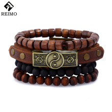 Fashion Jewelry Men's Bracelet Sets Leather Rivet Alloy Tai Chi Wooden Beaded Bracelets Vintage Personality Rock Punk Bracelet(China)