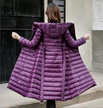 2017 winter down coat women down jacket over-the-knee slim medium-long ladies down jacket female outerwear purple