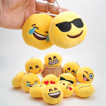 12pcs/lot 7cm Creative cartoon cute Hot style QQ expression plush doll mobile phone pendant plush accessory stuffed toy gift