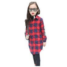 Hot Children's Garment Autumn And Winter Thickening Girl Lattice Down Long Sleeve Letter Printing Child Shirt Kids Clothing