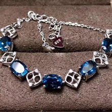 Fidelity natural 5*7mm London blue topaz Bracelet s925 sterling silver fashion fine jewelry for women party natural gemstone(China)