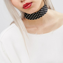 2017 new fashion 4 color Bar Gothic Spots Short Choker Necklace White dot Ribbon Choker Necklaces Jewelry Women For girls gifts