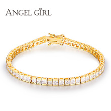 Angel Girl AAA+ Elegant Square 4.5mm CZ Zircon Tennis charm Bracelets & bangles Gold colour Princess Cut CZ Wedding Jewelry