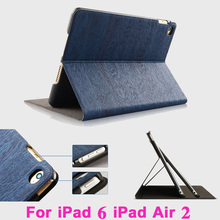 Hibernate Horizon Wood Grain Tablet PC Flip Leather Case for Apple iPad 6 iPad Air 2 Drop Resistance Housing Cover Protective