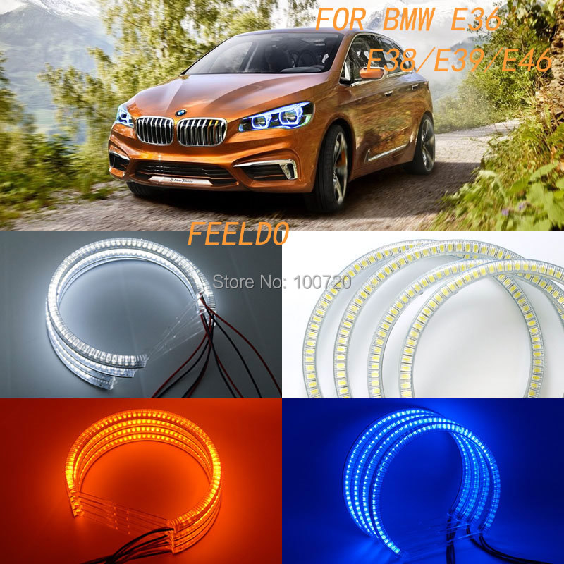 4Pcs/set 3-Color New 60SMD-3528 LED ANGEL EYES HALO RINGS For BMW E36/E38/E39/E46 #FD-4745<br><br>Aliexpress